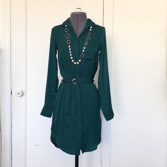H&M Dresses & Skirts - H&M Divided Hunter Green Satin Shirt Dress